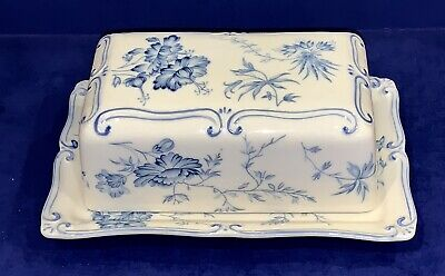 COASTLINE IMPORTS FINE PORCELAIN BLUE TOILE COLLECTION COVERED BUTTER DISH ()