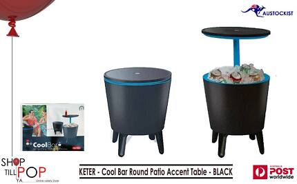 KETER  Cool Bar Round Patio Accent Table - BLACK 30 litre esky