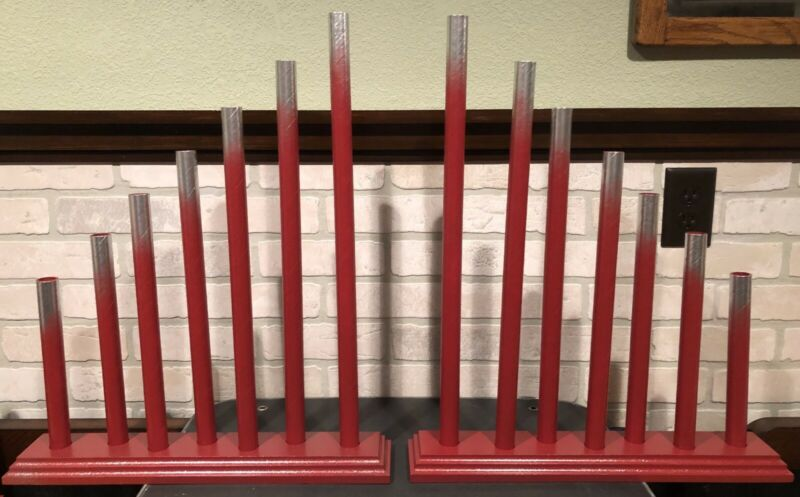 Pair Vintage Royal Style C7 Graduated 7 Candle Candolier Candelabra Red Silver