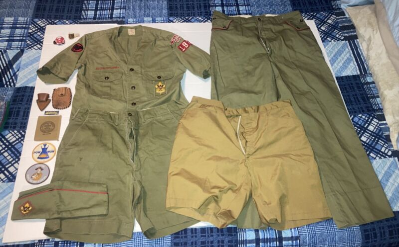 Vintage 1960's Boy Scouts Of America Uniform Lot With Patch & Extras