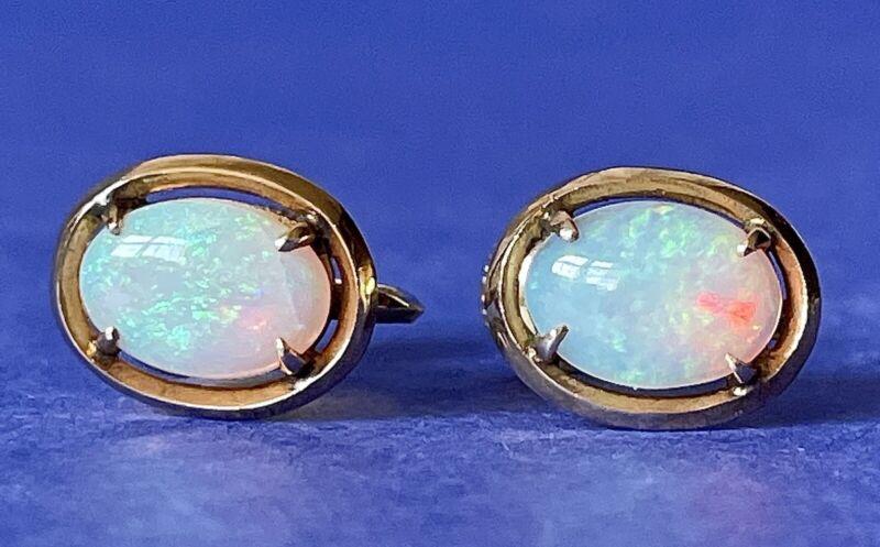 🌹14K ScrewBack FIRE OPAL Oval Yellow GOLD Earrings Mid-Century Vintage Estate