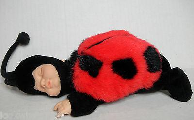 """Anne Geddes Sleeping baby Ladybug Doll 9"""" L 1997"""