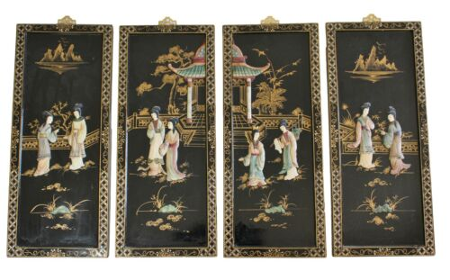 """Vintage Japanese Shibayama Carved Relief Wall Panels 4 Black Wood Lacquer 24"""""""
