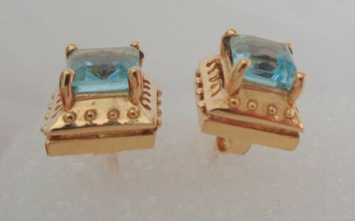 """BLUE TOPAZ SMALL POST EARRINGS 1/4"""" SQUARE"""