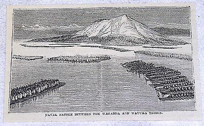 1878 magazine engraving~ NAVAL BATTLE BETWEEN WAGANDA & WAVUMA TRIBES
