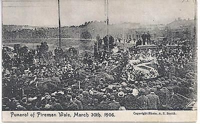 FIRE FIGHTING  ORIGINAL POST CARD FUNERAL OF FIREMAN WALE MARCH 1906 IN BRISTOL
