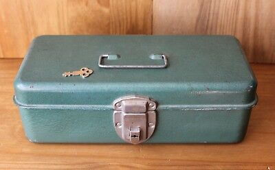 Vintage Metal Lock Box/Cash Box With Key