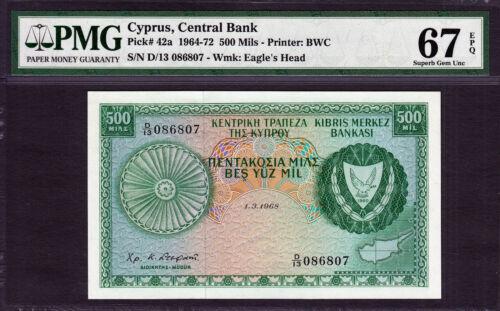 Cyprus 500 Mils 1968 Pick-42a SUPERB GEM UNC PMG 67 EPQ