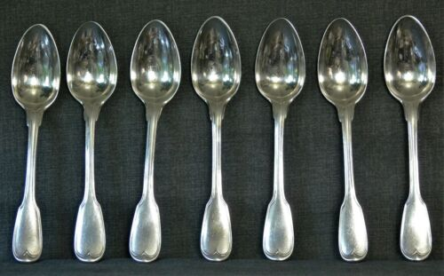 Christofle Antique French Sterling Silver Spoons 18th Century Set of 7