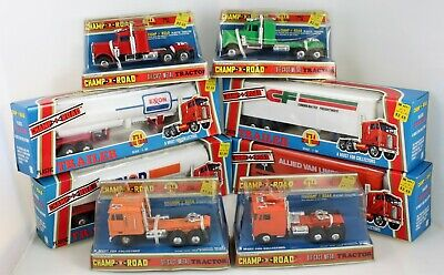 VINTAGE CHAMP OF THE ROAD SEMI TRACTOR TRAILERS ALLIED, UNION 76, EXXON & CF SET Tractor Trailer Set