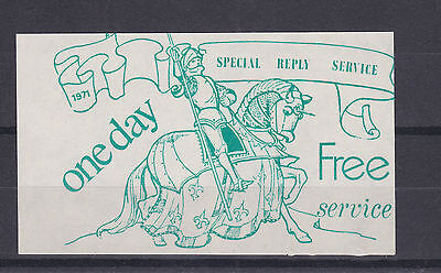 1971 STRIKE MAIL KING ARTHURS KNIGHTS SPECIAL REPLY SERVICE GREEN ON WHITE STAMP