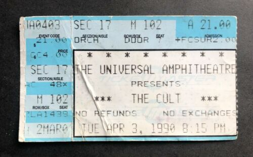 1990 The Cult Ticket Stub 4/3/90 Sonic Temple Tour Universal Amp Los Angeles Ca.