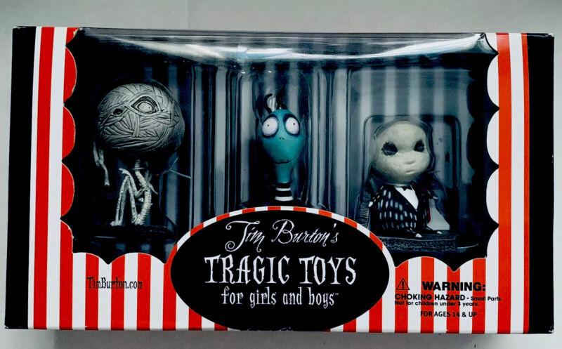 Tim Burton 2003 Tragic Toys Set ~ Mummy Boy, Toxic Boy, Penguin  NIB