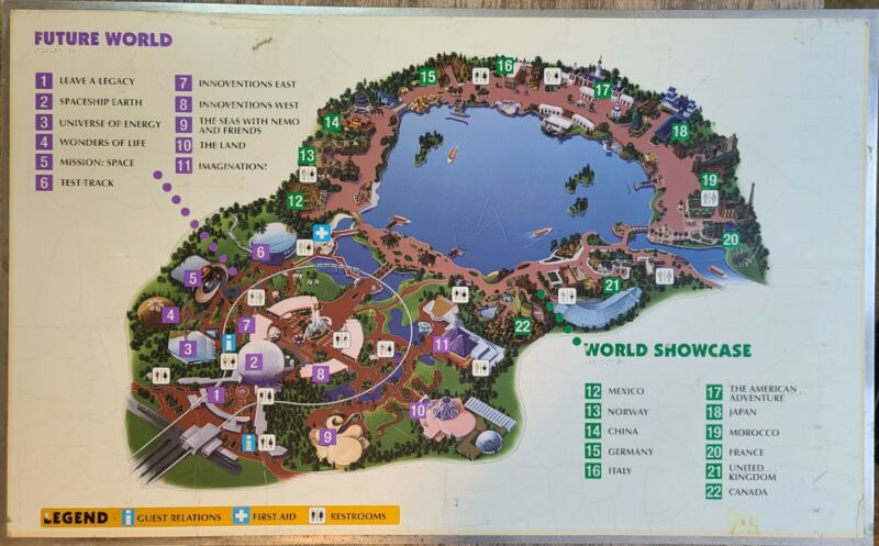 RARE!! Walt Disney World Epcot Map From Inside Park! Prop Authentic HUGE Sign!!!