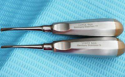 German 2 Pcs Curved Dental Surgery Extraction Luxating Elevator- Gold