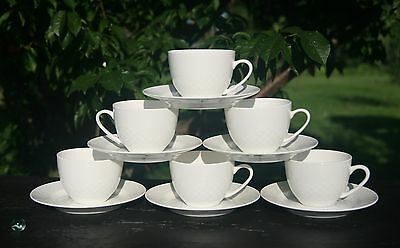 (Relief White Bone China Tea Cups/Saucers Dishwasher & Microwave Safe & Oven Safe)
