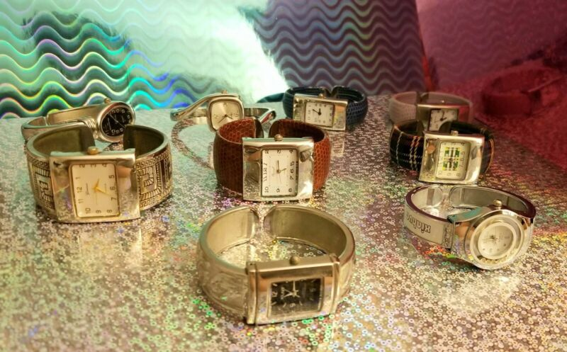 LOT OF WATCHES GORGEOUS COLLECTION OF 9 CUFF BRACELET WATCHES UNISEX MULTICOLOR