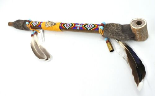 Authentic Native American Smokable Peace Pipe Handcrafted in USA 18 Inches Blue