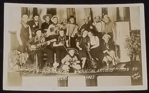 1938-39 C.F.A.R. OLD TIMERS BAND - ELK HALL, FLIN FLON, CANADA - PHOTO POSTCARD