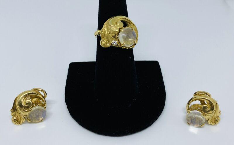 Rare Guglielmo Cini 14K Gold Moonstone and Diamond Matching Earrings & Ring