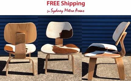 SALE - Eames Style LCW Lounge Chair - Cowhide