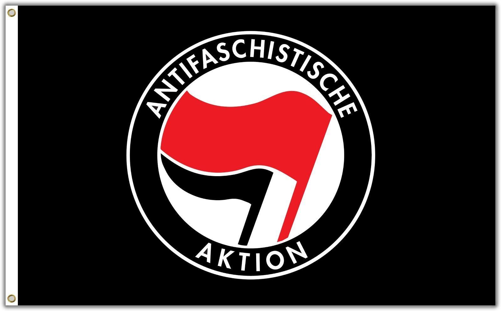 ANTIFA Fahne 150 x 90 cm Antifaschistische Aktion Flagge Linke Anti Nazi Black