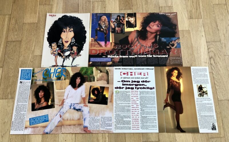 CHER 1990s Lot of Clippings Posters Swedish Music magazine
