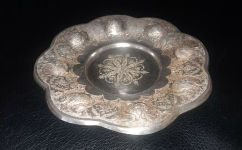 PERSIAN ANTIQUE-VERY FINE CHASED PLATE - SOLID SILVER