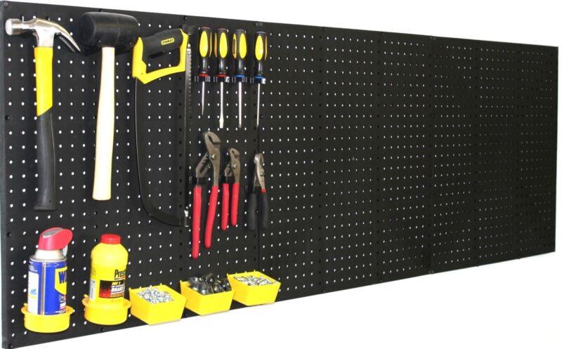 "WallPeg (4) Black Plastic Pegboard Panels – 96"" Wide Garage Tool Pegboard"