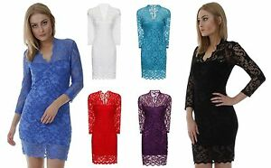 New-Ladies-Fashion-Lace-Dress-Bodycon-Evening-wear-Black-White-Red-6-8-10-12-14