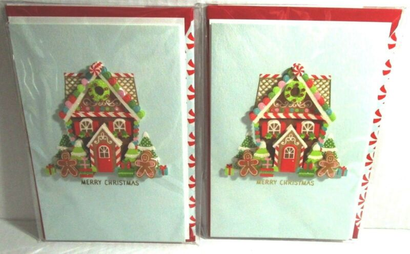 Hallmark Signature Christmas GINGERBREAD HOUSE Holiday Sweets 3-D Lot of 2