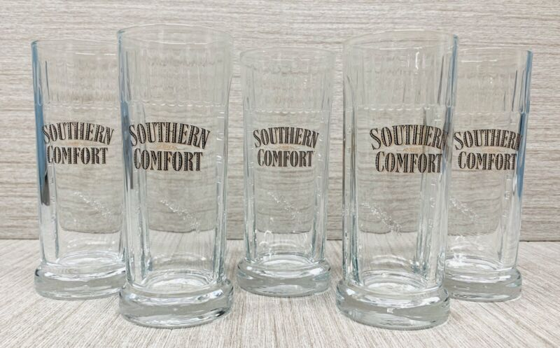 """Southern Comfort 6"""" Glasses Barware Whiskey Collectible Advertising Lot Of 5"""