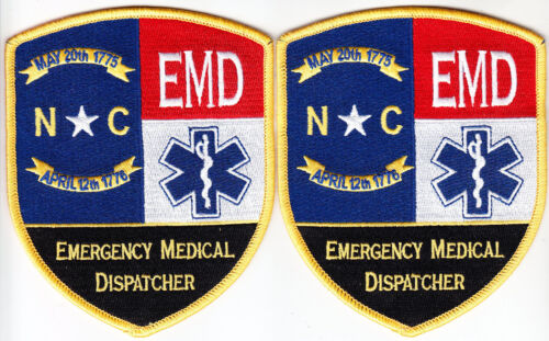 North Carolina EMD 2 patches/1 pair Emergency Medical DISPATCHER NC new style