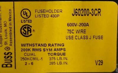 Bussman J60200-3CR Fuse Holder