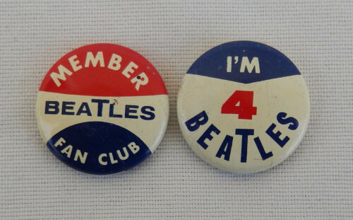 """Two Seltaeb 1964 Vintage Beatles Green Duck Co. Fan Club Pins """"I"""