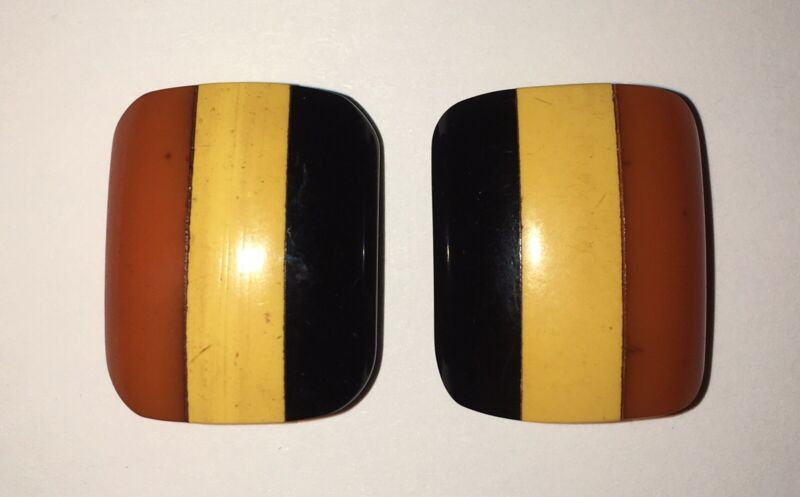 Vintage Laminated Striped Bakelite Dress Clips Butterscotch, Yellow & Black