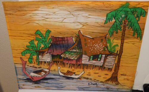 MALAYLSIAN VILLAGE SEASCAPE BOATS ORIGINAL BATIK PAINTING SIGNED CHANG