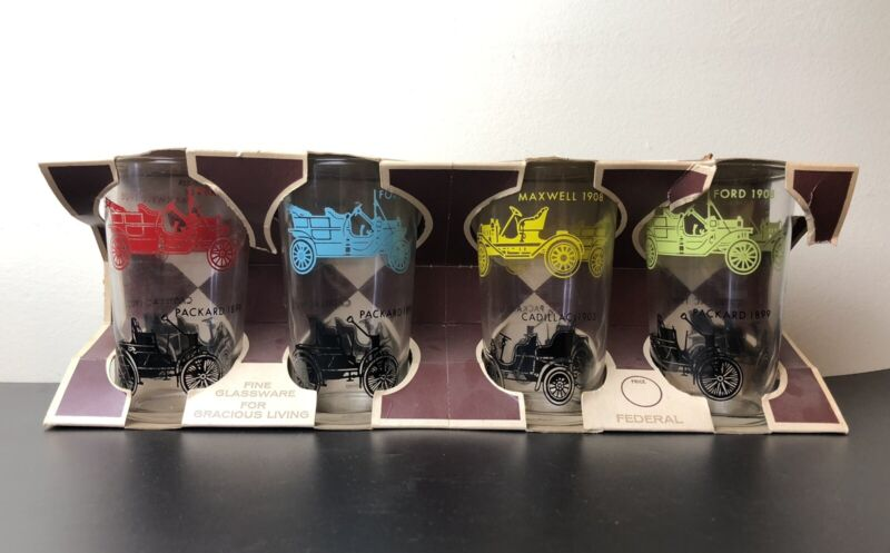 Federal Glass Co Set of 4 Vintage 12oz Glasses Antique Cars w Original Box