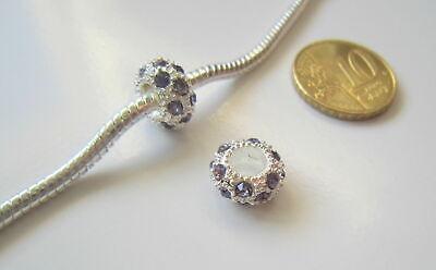 Abalorio pulsera europea cristal X 2 UNIDADES violeta 11 mm baño plata
