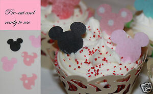 24-Pre-cut-Edible-minnie-mickey-mouse-cake-decorations-pink-Any-4th-free