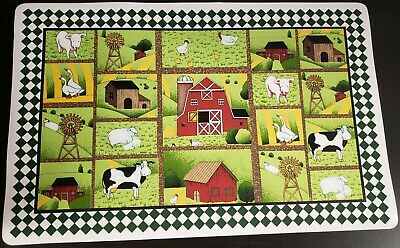 Vinyl Country Placemat - SET of 4 VINYL NON CLEAR PLACEMATS, COUNTRY ANIMALS & THE FARM SQUARES, Broder