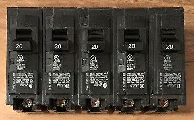 5x Murray Plug-on Circuit Breakers Single-pole 20 Amps 120240 Volts Mp120