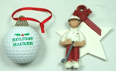 Lot Of (2) Holiday Hacker Golf Themed Christmas Ornament Holiday - Golf Christmas Decorations