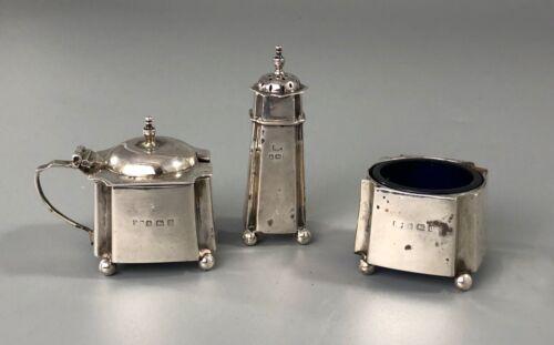 Art Deco Silver Cruet Set Robert Pringle Birmingham 1919 61g DZX