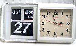 Vintage Teltime Flip Wall Clock Wallclock Auto Calendar Quartz Clock Works Great