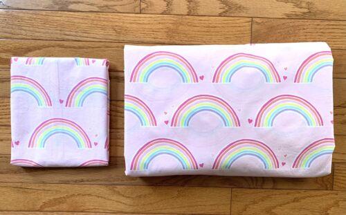 Pottery Barn Kids Multi-Color ORGANIC RAINBOW Twin Duvet Cover Sham PINK GIRLS - $35.00