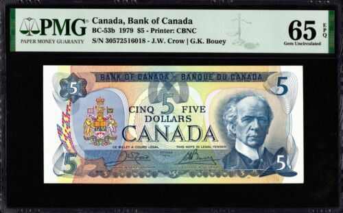 1979 Bank of Canada $5 Banknote, PMG UNC-65 EPQ