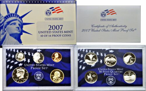 2007-S 10 Coin Proof Set OGP W/COA Original Packaging