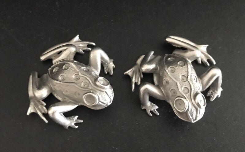Set of 2 Pewter FROG Frogs Toad Noah's Ark Silver Metal Figurines Y