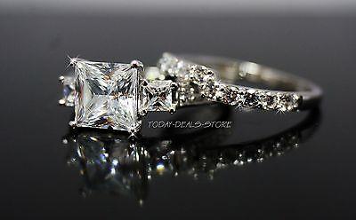 3 Three-Stone Wedding Engagement Set Princess Cut Real 14k White Gold 3.00 CTW